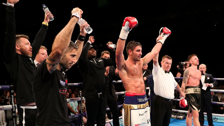 Frank Buglioni has his arm raised after a cracking domestic clash