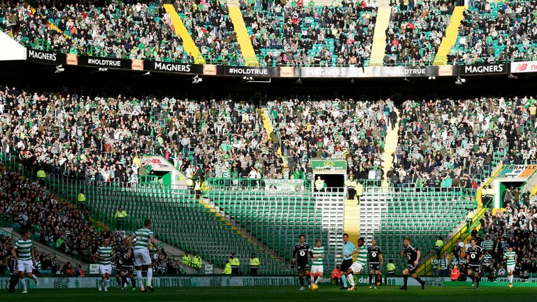 The sector normally occupied by the Green Brigade sat empty  during the game