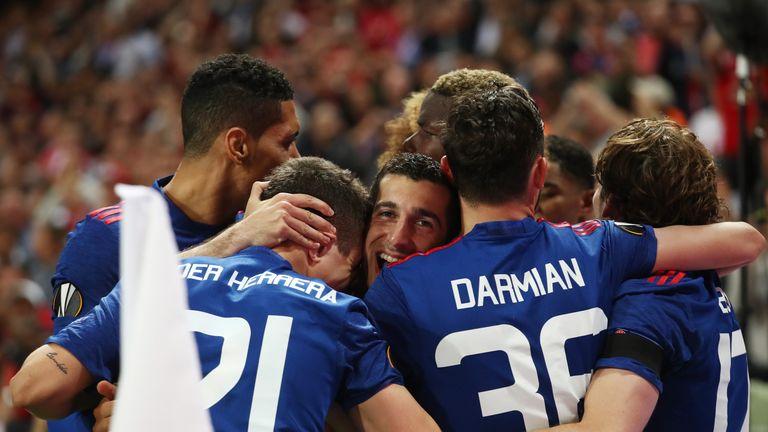 Henrikh Mkhitaryan scored United's second goal in the Europa League final