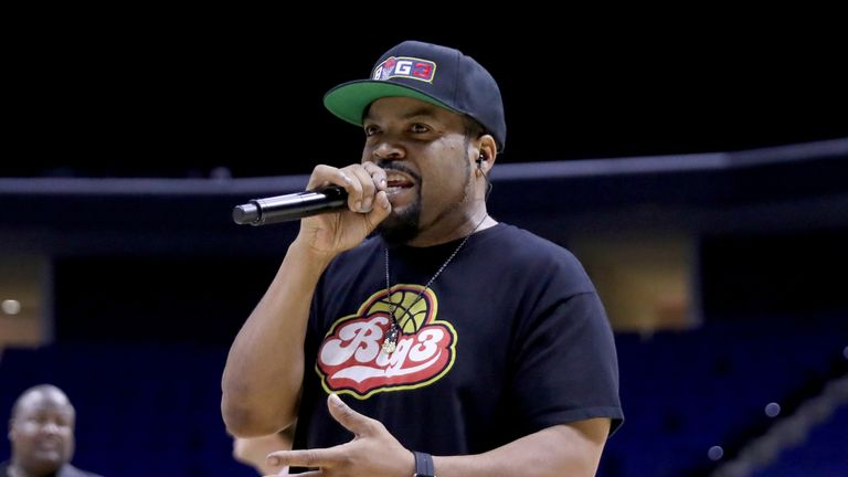 TULSA, OK - JULY 09:  Ice Cube rehearses before the start of week three of the BIG3 three on three basketball league at BOK Center on July 9, 2017 in Tulsa