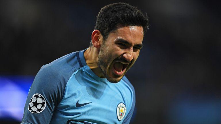 MANCHESTER, ENGLAND - NOVEMBER 01: Ilkay Gundogan of Manchester City celebrates scoring