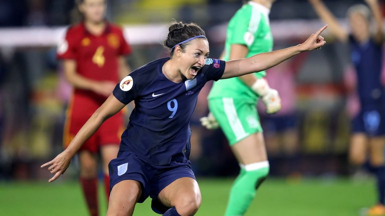 England's Jodie Taylor celebrates scoring her side's second goal of the game during the UEFA Women's Euro 2017, Group D match at the Rat Verlegh Stadium, B