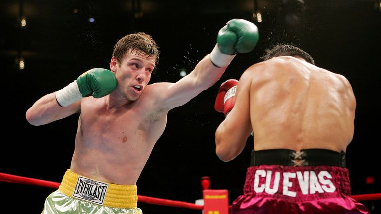 John Duddy of Ireland makes contact with Freddie Cuevas during their middleweight fight on June 10, 2006, at Madison Square Garden.