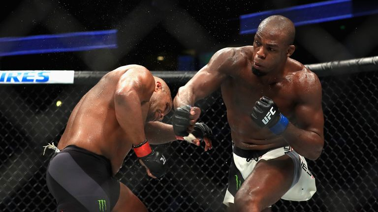 Jon Jones produced a stunning head kick to defeat Daniel Cormier at UFC 214