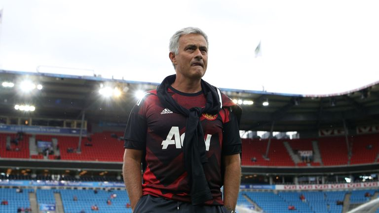 OSLO, NORWAY - JULY 30: Jose Mourinho, the manager of Manchester United, before the game today between Valerenga and Manchester United at Ullevaal Stadion