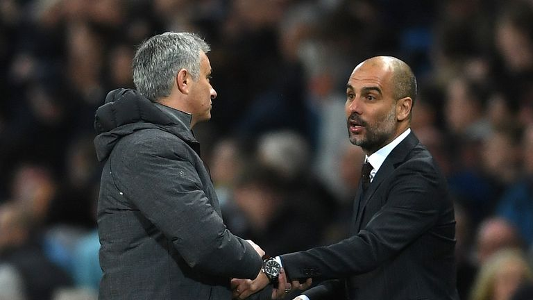 MANCHESTER, ENGLAND - APRIL 27:  Josep Guardiola, Manager of Manchester City and Jose Mourinho, Manager of Manchester United shake hands after the full tim