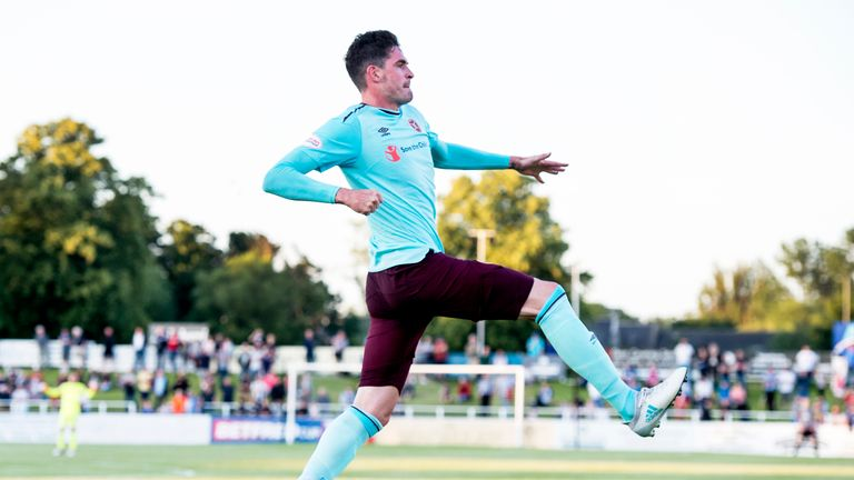 Kyle Lafferty savours his goal at a sun-kissed Borough Briggs