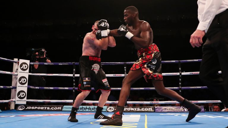 Okolie hurt Henshaw in the opening minute at The O2