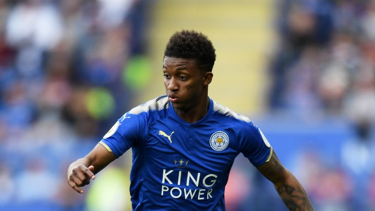 Demarai Gray in action during the Premier League match between Leicester City and Bournemouth