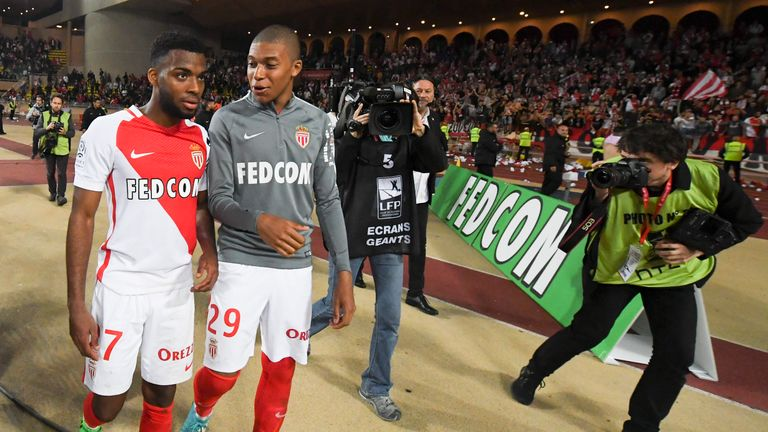 Thomas Lemar (L) and Kylian Mbappe could leave Monaco before the close of the summer transfer window