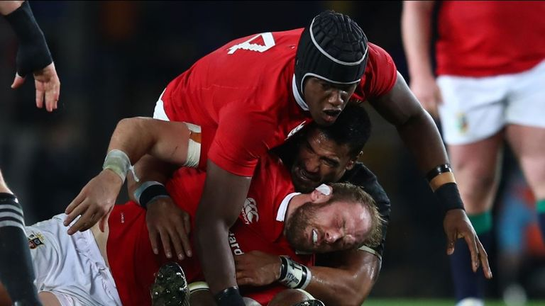 Jerome Kaino was yellow carded for this tackle on Alun Wyn Jones