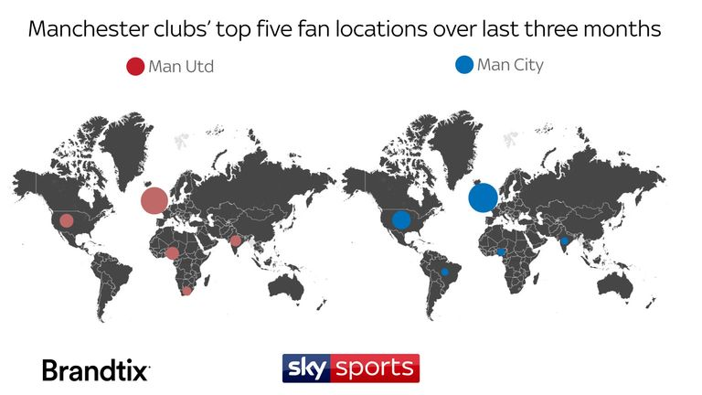 Manchester World Map.Manchester United And Manchester City Global Social Media Support