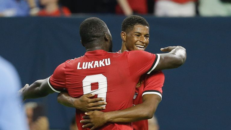 HOUSTON, TX - JULY 20:  Manchester United forward Marcus Rashford #19 celebrates with Romel Lukaku #9 after scoring in the first half against Manchester Ci