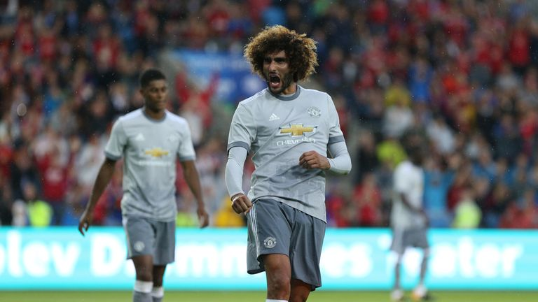 OSLO, NORWAY - JULY 30: Marouane Fellani of Manchester United celebrates scoring the first goal v Valerenga today at Ullevaal Stadion on July 30, 2017 in O