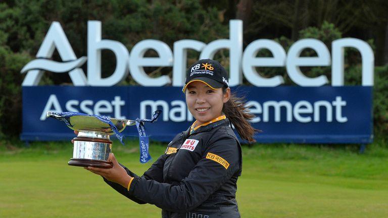 Lee Mi Hyang celebrates winning the Aberdeen Asset Management Ladies Scottish Open