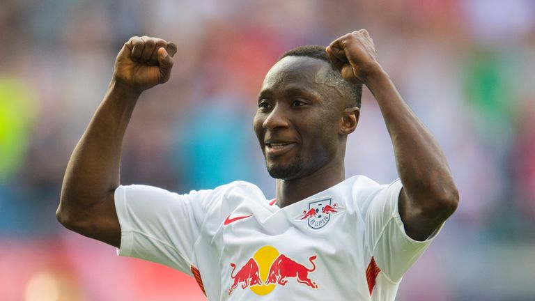 Leipzig's Guinean midfielder Naby Keita celebrates after scoring the 4-0 during the German first division Bundesliga football match between RB Leipzig and