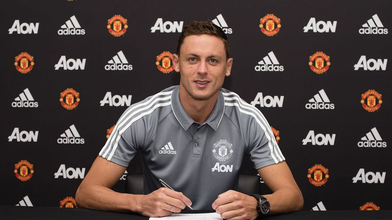 Nemanja Matic signs for Manchester United at the Aon Training Complex on July 31, 2017