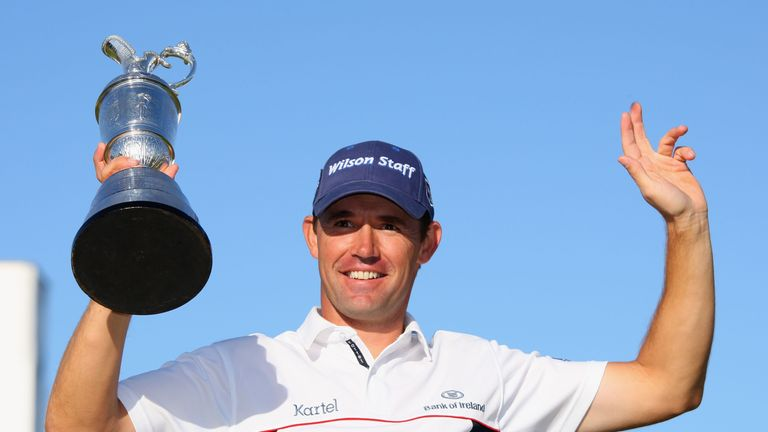 Padraig Harrington celebrates his victory in The Open at Royal Birkdale in 2008