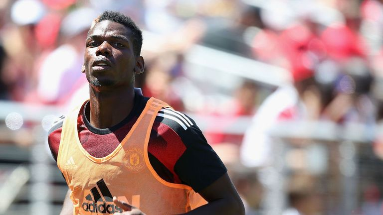 Paul Pogba came on in the second half for United