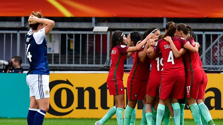 Portugal celebrate after scoring against Scotland