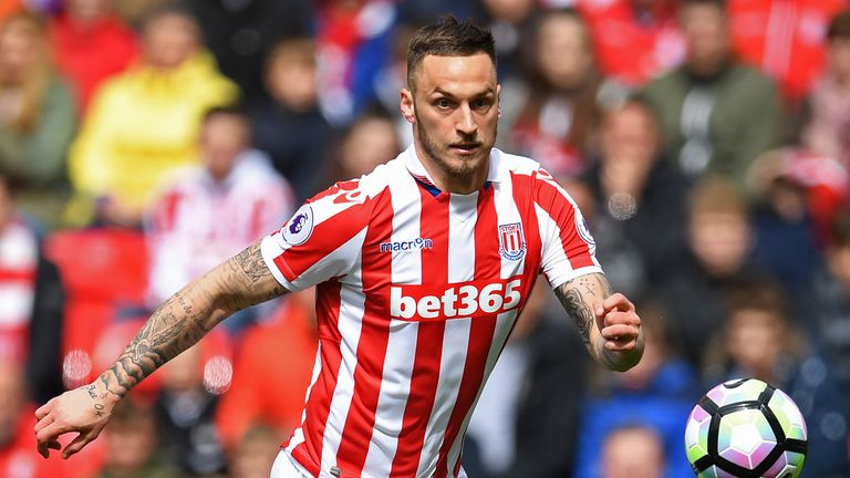 Stoke City's Austrian striker Marko Arnautovic in action during the Premier League West Ham United on April 29, 2017