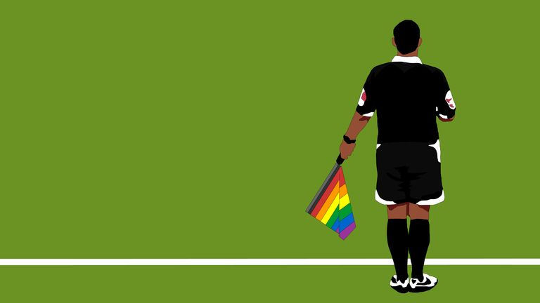 Assistant referee / linesman with rainbow flag (Illustration: Steve Welsh, miniboro.com)