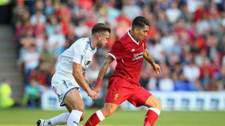 Roberto Firmino in action against Tranmere