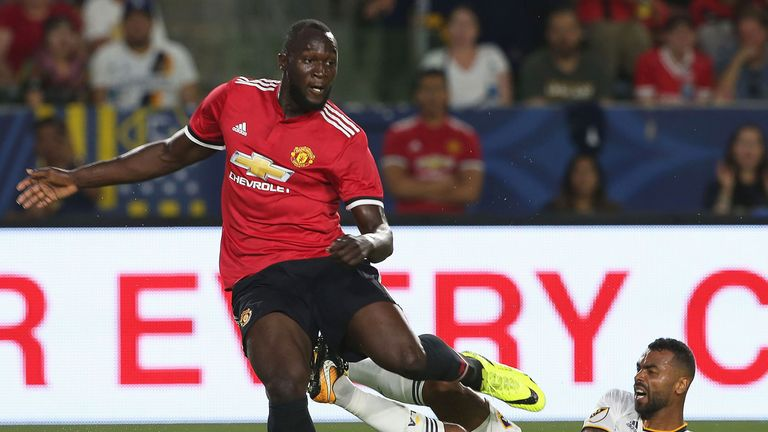 Romelu Lukaku in action during the pre-season friendly between LA Galaxy and Manchester United at StubHub Center