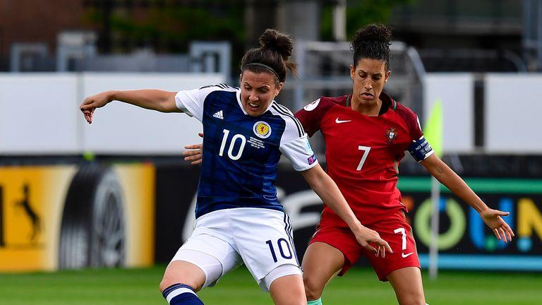 Scotland midfielder Leanne Crichton (left) vies with Portugal's Claudia Neto