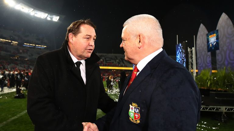 Warren Gatland shakes hands with his opposite man All Blacks head coach Steve Hansen