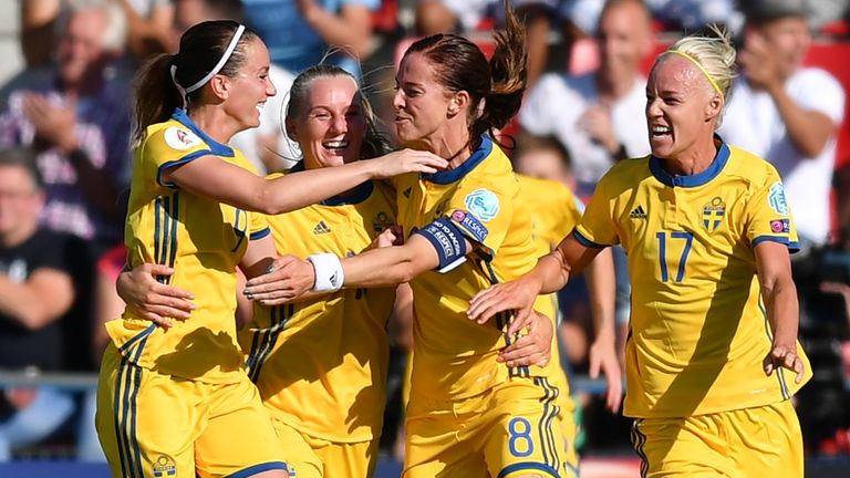 Sweden's forward Lotta Schelin (3rd L) celebrates with teammates after scoring a goal during the UEFA Womens Euro 2017 football tournament match between Sw