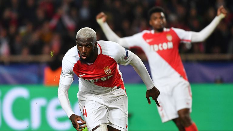 Tiemoue Bakayoko celebrates after scoring during the  Champions League round-of-16 against Manchester City