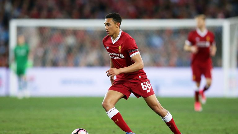 SYDNEY, AUSTRALIA - MAY 24:  Trent Alexander-Arnold of Liverpool controls the ball during the friendly match between Sydney FC and Liverpool