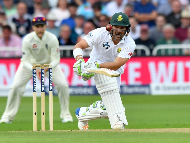 South Africa's Dean Elgar bats on the second day