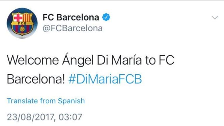 Tweet claiming to announce Barcelona's capture of Angel di Maria