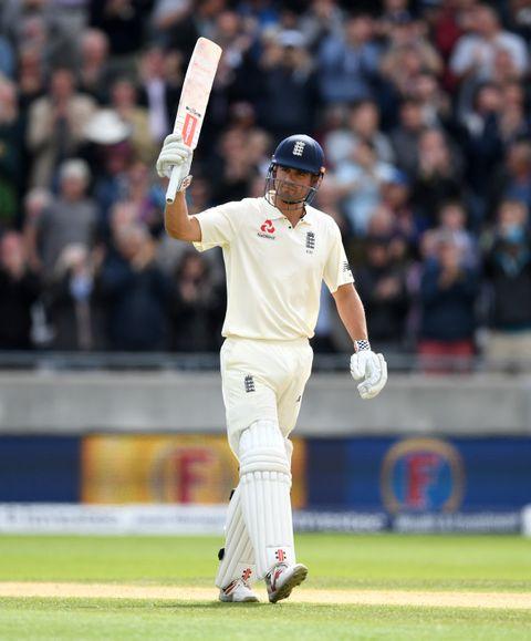 Alastair Cook celebrates his double century