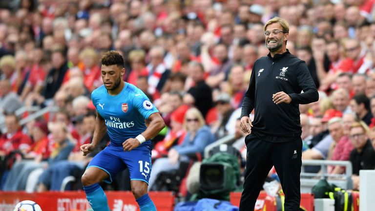Jurgen Klopp, manager of Liverpool reacts as Alex Oxlade-Chamberlain of Arsenal controls the ball during a Premier League game in August 2017