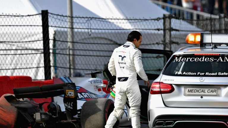 Felipe Massa crashed out on his return to action in Friday practice at Spa but then finished eighth in Sunday's race