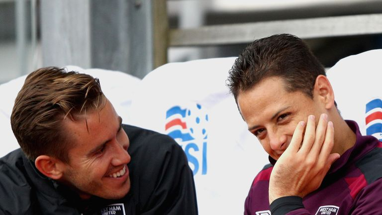 REYKJAVIK, ICELAND - AUGUST 04: Javier Hernandez of West Ham United is seen on the bench during a Pre Season Friendly between Manchester City and West Ham