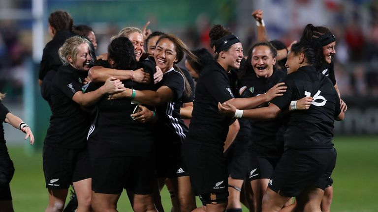 New Zealand celebrate at the final whistle in Belfast