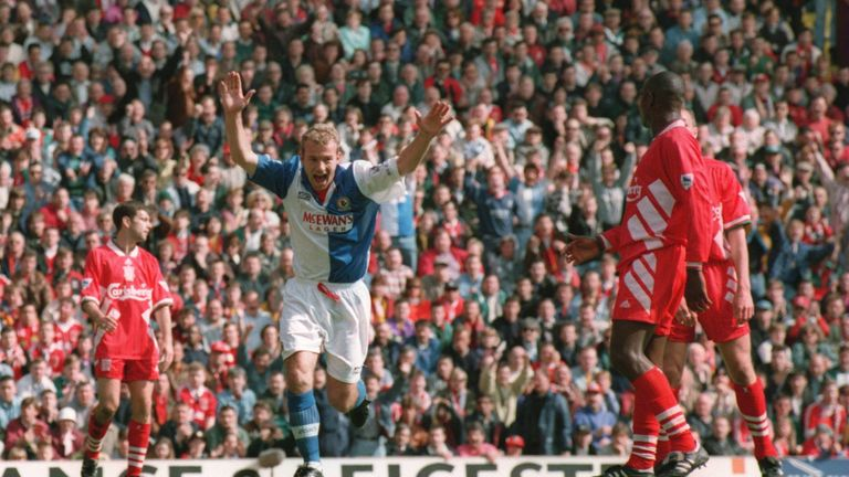 Alan Shearer celebrates giving Blackburn the lead at Anfield in 1995