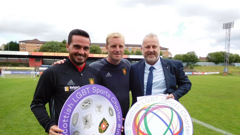 Albion Rovers' Stuart Malcolm, Brian Kerr and David Douglas pose after the club agreeed to sign up to the Scottish LGBT Sports Charter