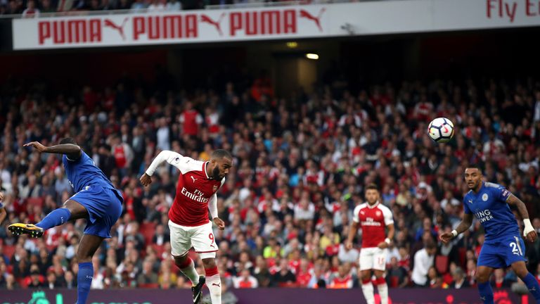 Alexandre Lacazette scores Arsenal's first goal of the game