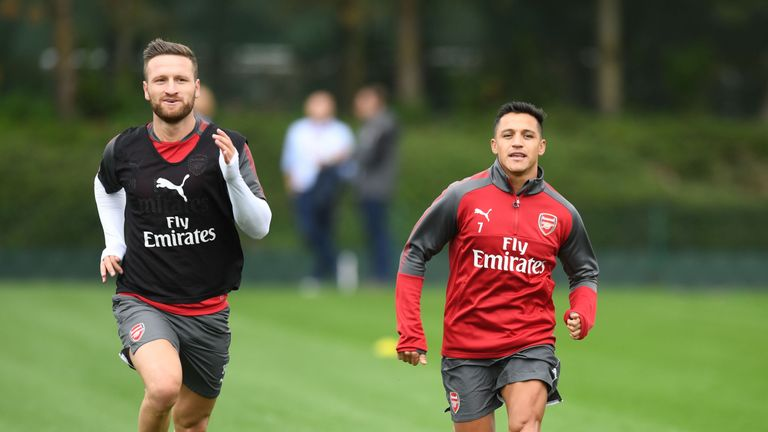 Alexis Sanchez during a training session at London Colney on August 2, 2017