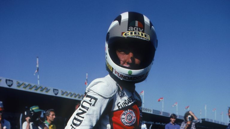 Angel Nieto pictured after winning the British Grand Prix, August 1981