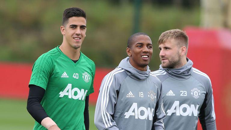 Ashley Young (left) and Luke Shaw also trained with the first team after featuring for United's reserves on Monday