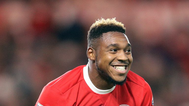 Middlesbrough's Britt Assombalonga reacts after a missed chance at goal during the Sky Bet Championship match at the Riverside Stadium, Middlesbrough.