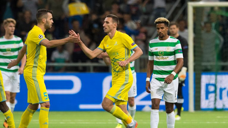 Scott Sinclair shows his disappointment after Astana's second goal