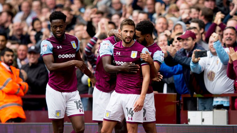 Conor Hourihane celebrates after scoring the opening goal of the game at Villa Park