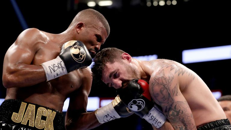 Badou Jack throws a punch at Nathan Cleverly during their WBA light-heavyweight championship bout in August 2017